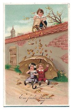 """Alte Lithografie Postkarte """"EIN FROHES NEUJAHR""""  Junge leert einen Sack mit Münzen auf Kinder mit Regenschirm, 1914"""