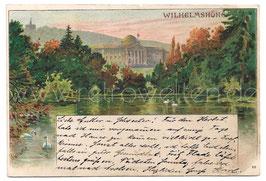 Alte Künstler Postkarte KASSEL WILHELMSHÖHE Schloss mit Schwanenteich, signiert A. Wagner 1898