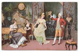 Alte Künstler Postkarte PAAR TANZT MENUETT