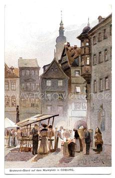 Alte Künstler Postkarte COBURG Bratwurst-Stand auf dem Marktplatz um 1915