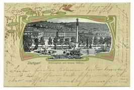 Alte Jugendstil Passepartout Postkarte STUTTGART Schlossplatz mit neuem Schloss, 1904