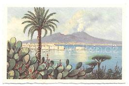 Alte Künstler Postkarte NEAPEL NAPOLI  Panorama con vista del Castel dell'Ovo e del Vesuvio, Italien
