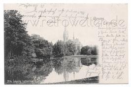 Alte  Postkarte GRUSS AUS LEIPZIG Lutherkirche im Johannapark - 1900