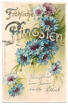 Alte Lithographie Postkarte FRÖHLICHE PFINGSTEN Blaue Kornblumen 1909