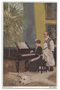 Alte Künstler Postkarte DAS DUETT - DIENSTMÄDCHEN SPIELT KLAVIER, BUTLER SINGT signiert Helmut Skarbina