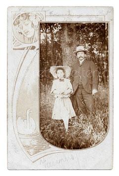 Alte Jugendstil Passepartout Postkarte VATER & TOCHTER, 1906