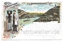 Alte Lithografie Wappen Postkarte GRUSS VOM WESERSTRANDE Porta Westfalica, Westfälische Bauerntracht - 1902