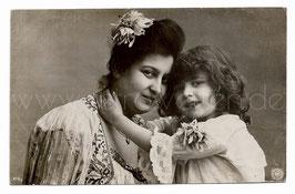 Alte Fotografie Postkarte MUTTER & TOCHTER, 1905