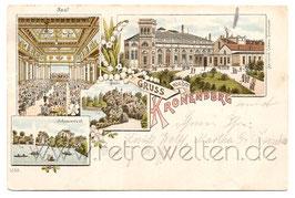 Alte Lithografie Postkarte DORTMUND - GRUSS VON DER KRONENBURG Saal, Schwanenteich, Grotte - 1897