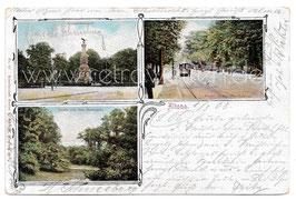 Alte Postkarte HAMBURG-ALTONA Kriegerdenkmal, Partie an der Elbchaussee, Partie aus dem Stadtpark - 1903