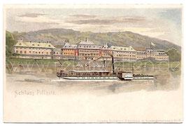 Alte Künstler Postkarte SCHLOSS PILLNITZ UND DAMPFER AUF DER ELBE um 1900