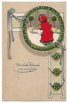 """Alte Jugendstil Postkarte """"DIE BESTEN WÜNSCHE ZUM NEUEN JAHRE""""  Mädchen bringt Blumen, 1905"""