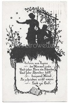 Alte Künstler Scherenschnitt Postkarte LIEBESPAAR, 1921