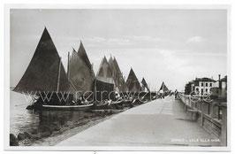 Alte Postkarte GRADO - Fischerboote beim Damm, Italien 1950er Jahre