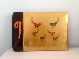 Asiatisches vintage Foto-Lackalbum mit handbemaltem Vogelmotiv, unbenutzt.