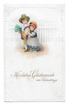 Alte Lithographie Postkarte HERZLICHEN GLÜCKWUNSCH ZUM GEBURTSTAGE  Kinder mit Blumenstrauß und großem Ei