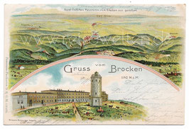 Alte Lithografie Postkarte GRUSS VOM BROCKEN Nordöstliches Panorama vom Brocken aus gesehen - 1902
