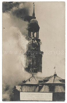 Alte Postkarte HAMBURG Brand der Michaeliskirche am 3. Juli 1906