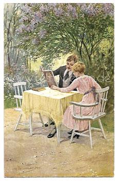 Alte Künstler Postkarte ERINNERUNGEN Ehepaar schaut sich ein Fotoalbum an, signiert R. Borrmeister 1918