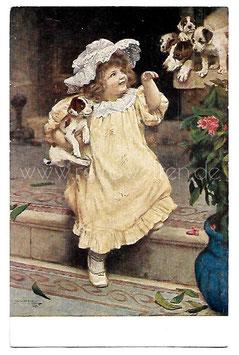 Alte Künstler Postkarte Mädchen mit kleinen Hunden, signiert Arthur Elsley 1894