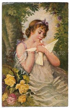 Alte Künstler Postkarte DER LIEBESBOTE Frau mit weißer Taube