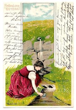 Alte Künstler Postkarte Ostern FRÖHLICHE OSTERN - signiert Mailick, um 1905