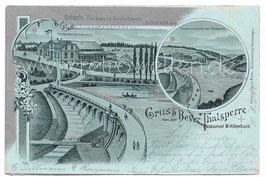 Alte Lithografie Mondschein Postkarte HÜCKESWAGEN Gruss von der Bever Thalsperre, Restaurant W. Hillenbach - 1899