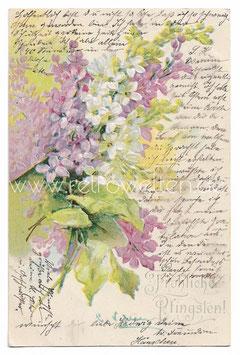 Alte Prägepostkarte FRÖHLICHE PFINGSTEN Blumenstrauß, 1905