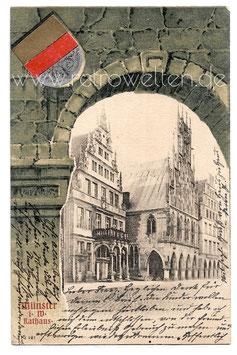 Alte Wappen Passepartout Postkarte MÜNSTER  i. W.  Rathaus - 1901