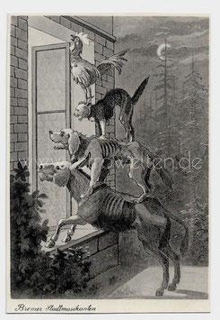 Alte Künstler Postkarte BREMER STADTMUSIKANTEN