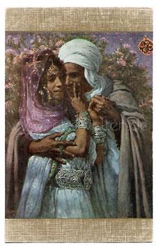 Alte Künstler Postkarte ESCLAVE D' AMOUR  LIEBESSKLAVE Beduine umarmt eine schöne Frau, signiert E. Dinet