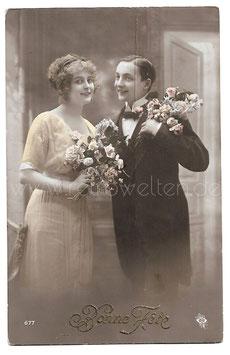 Alte Fotografie Postkarte BONNE FÊTE  Paar mit Blumen
