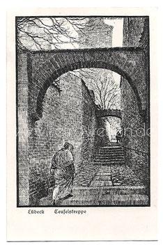 Alte Künstler Postkarte LÜBECK Teufelstreppe, signiert Karl Bloßfeld 1921