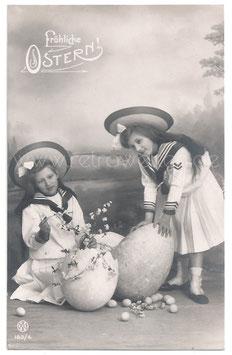 Alte Foto Postkarte OSTERN Mädchen mit großen Ostereiern, 1907