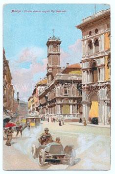 Alte Künstler Postkarte MILANO - Piazza Duomo angolo Via Mercanti