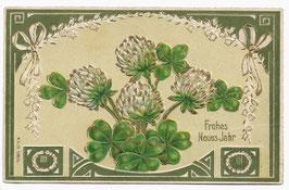 """Alte Jugendstil Postkarte Neujahr """"FROHES NEUES JAHR"""" Glücksklee mit Blüten"""