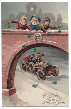 """Alte Lithografie Postkarte Neujahr """"GLÜCKLICHE FAHRT IM NEUEN JAHR"""" Kinder, Glücksklee, Automobil, 1913"""