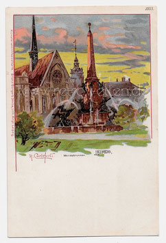 Alte Künstler Postkarte LEIPZIG Mendebrunnen, signiert Raffaele Carloforti