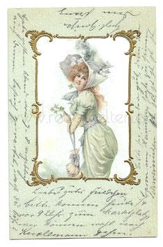 Alte Künstler Postkarte ELEGANTE FRAU IN BIEDERMEIER KLEIDUNG MIT GLÜCKSKLEE