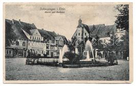 Alte  Postkarte SCHEUSINGEN IN THÜRINGEN Markt mit Rathaus 1925