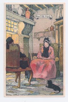 """Alte Künstler Postkarte """"AUTREFOIS""""  ALTES PAAR MIT KATZE SITZT AM KAMIN"""