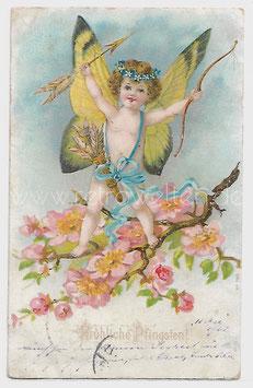 Alte Lithographie Postkarte FRÖHLICHE PFINGSTEN Amor als Schmetterling mit Pfeil und Bogen auf Kirschblütenzweig 1902