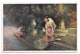 Alte Künstler Postkarte AM SCHLOSSTEICH Liebespaar steigt in ein Boot