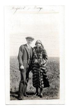 Alte Fotografie ELEGANTES PAAR, FRAU MIT PELZMANTEL, USA 20er Jahre