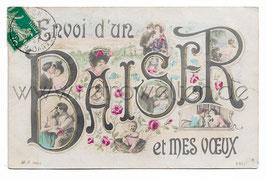 Alte Foto-Collage Postkarte LIEBESPAARE KÜSSEN SICH