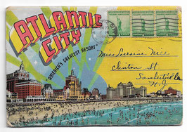 "Altes Postkarten Leporello ATLANTIC CITY  ""AMERICA'S GREATEST RESORT"" - NEW JERSEY, USA 1943"