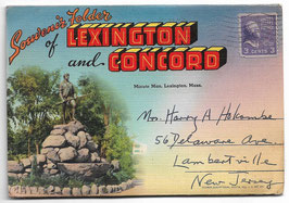 Altes Postkarten Leporello  SOUVENIR FOLDER OF LEXINGTON AND CONCORD - MASSACHUSSETS, USA 1930er Jahre