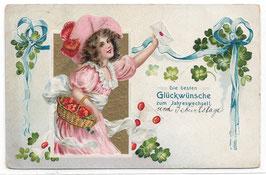 """Alte Lithografie Postkarte Neujahr """"DIE BESTEN GLÜCKWUNSCH ZUM JAHRESWECHSEL"""" Mädchen, Brief, Glücksklee"""