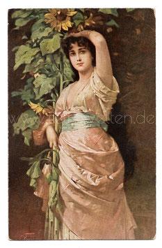 Alte Künstler Postkarte SCHÖNE FRAU MIT SONNENBLUMEN signiert N. Sichel, 1919