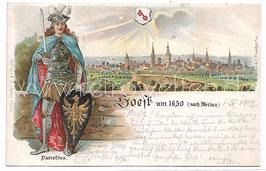 Alte Lithografie Postkarte SOEST um 1650 (nach Merian) 1902
